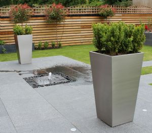 Brushed Stainless Steel Tapered Square Planters from potstore.co.uk